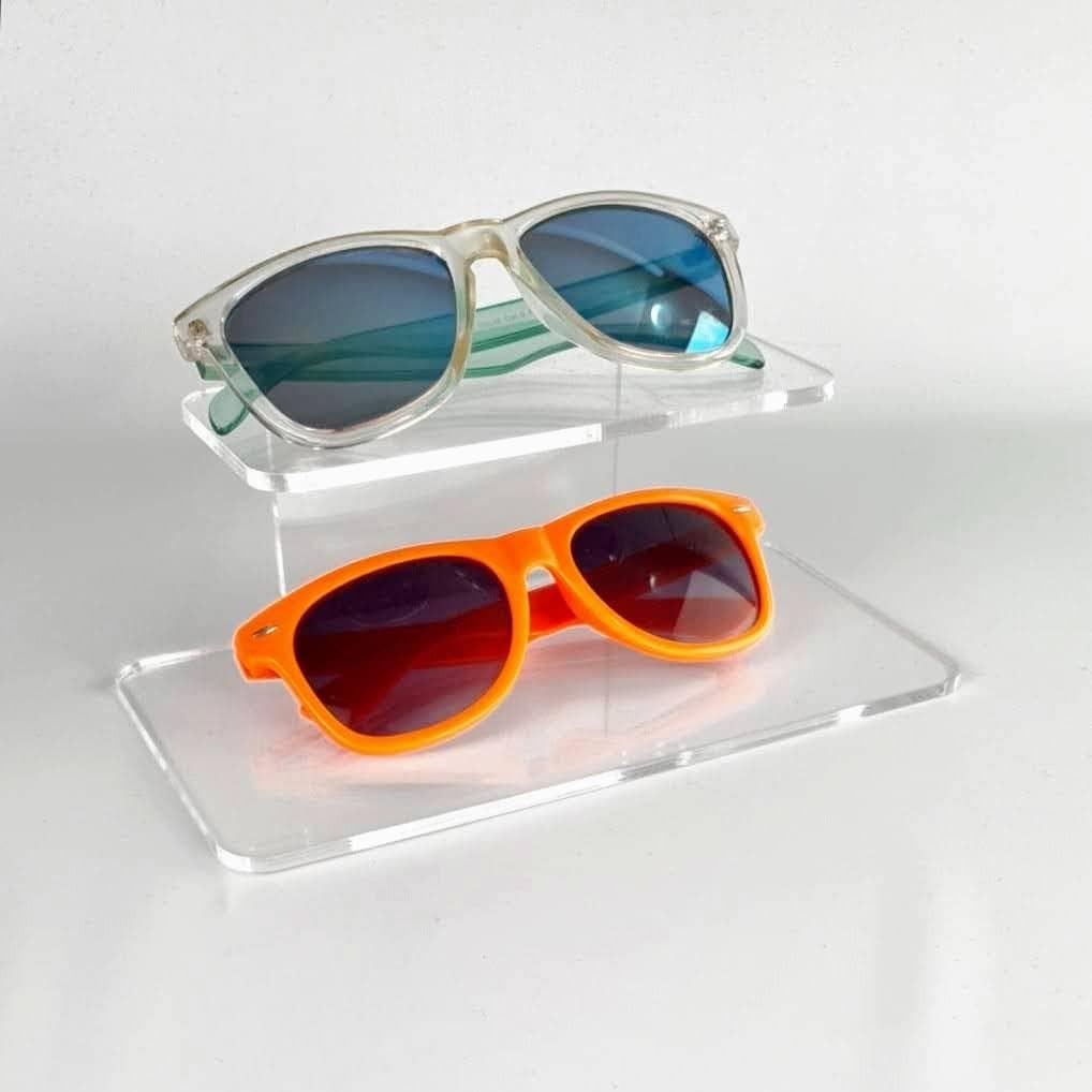 Expositor de metacrilato para 2 gafas alto 7.5 cm