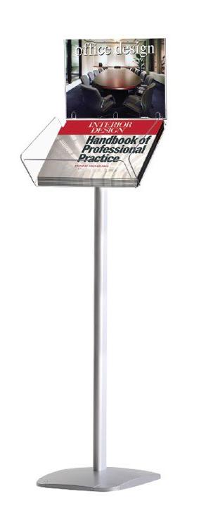 Portafolletos de pie base de aluminio y cajetin de metacrilato 1 A4 Horizontal con portacartel