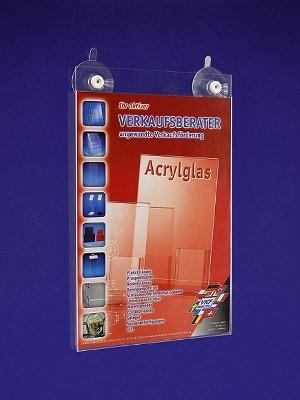 Portacartel de metacrilato con ventosa A4