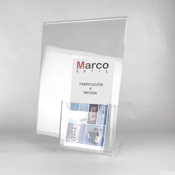 Portacartel de metacrilato sobremesa A3 con portafolletos