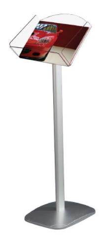 Portafolletos de pie base de aluminio y cajetin de metacrilato 1 A4 Horizontal
