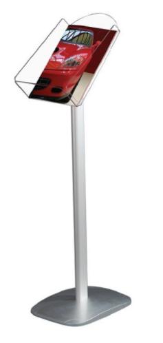 Portafolletos de pie base de aluminio y cajetin de metacrilato 1 A4 Vertical