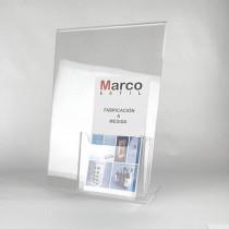 Portacartel de metacrilato sobremesa A4 con portafolletos