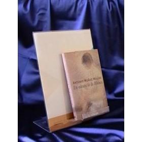Expositor de metacrilato para libros con portacartel